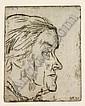 Bernhard Kretzschmar, Bildnis einer älteren Frau im Profil (Frau Böckstiegel ?). 1951.