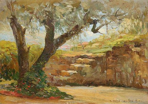 M. Laive-Lomfond (?), Baumbestandene Landschaft. 1910.