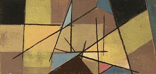 Erhard Hippold, Dreieckkomposition mit gelbem Halbkreis.