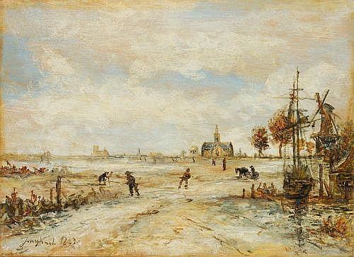 Johann Barthold Jongkind (zugeschr.), Krabbenfischer bei Ebbe am Strand. 1869.