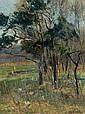 Otto Ackermann, Landschaft mit Hühnern. Wohl 1890's.