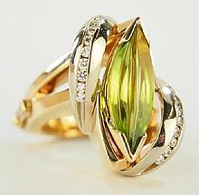 Ladies Peridot and Diamond ring