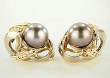 Ladies South Sea Pearl and Diamond earrings