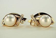 Ladies Pearl and Diamond earrings