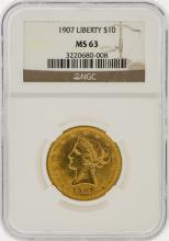 1907 NGC MS63 $10 Liberty Head Eagle Gold Coin