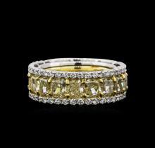 EGL USA Cert 12.82ctw Fancy Yellow Diamond Ring - Platinum and 18KT Yellow Gold