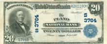 1902 $20 The Plano National Bank Blue Seal Large Note