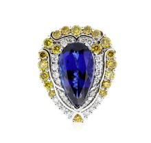 18KT White Gold GIA Certified 13.94ct Tanzanite and Diamond Ring