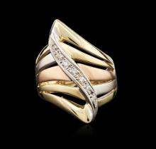 14KT Tri-Color Gold 0.25ctw Diamond Ring