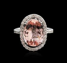 18KT White Gold 7.16ct Morganite and Diamond Ring