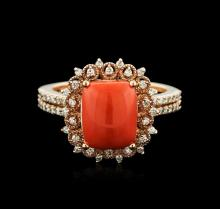 14KT Rose Gold 4.83ct Coral and Diamond Ring
