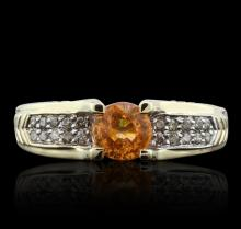 14KT Yellow Gold 1.00ct Citrine and Diamond Ring