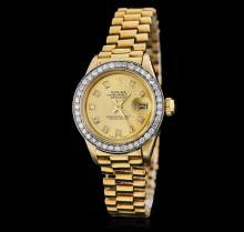 Ladies Rolex 18KT Yellow Gold Diamond Lady President DateJust Wristwatch