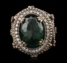 Silver 3.76ct Green Crystal, Ruby, Emerald and Cubic Zirconia