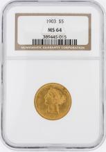 1903 NGC MS64 $5 Liberty Head Half Eagle Coin
