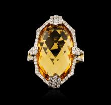 14KT Yellow Gold 14.39ct Citrine and Diamond Ring