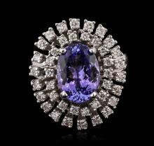 14KT White Gold 4.42ct Tanzanite and Diamond Ring