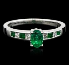 14KT White Gold 0.55ctw Emerald and Diamond Ring