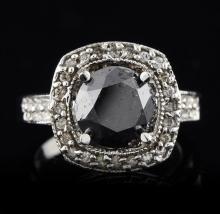 14KT White Gold 3.61ct Black & White Diamond Ring