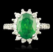 14KT White Gold 2.87ct Emerald and Diamond Ring