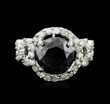 14KT White Gold 6.34ctw Black Diamond Ring