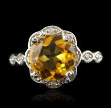 14KT White Gold 3.10ct Citrine & Diamond Ring