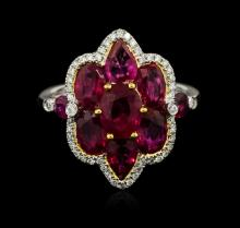 18KT White Gold 4.50ctw Ruby and Diamond Ring