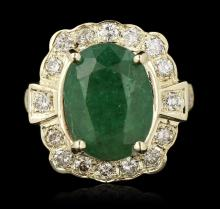 14KT Yellow Gold 3.72ct Emerald and Diamond Ring