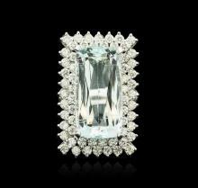14KT White Gold 16.49ct Aquamarine and Diamond Ring