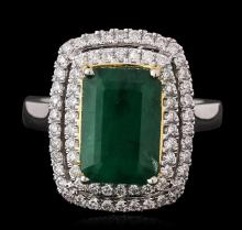 14KT Two-Tone Gold 3.40ct Emerald and Diamond Ring