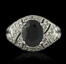 SILVER 3.24ct Sapphire and White Topaz Ring