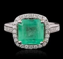 14KT Two-Tone Gold 3.50ct Emerald and Diamond Ring