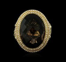 14KT Yellow Gold 21.76ct Smokey Quartz and Diamond Ring