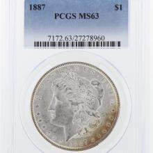 1887 Morgan Silver Dollar PCGS Graded MS63