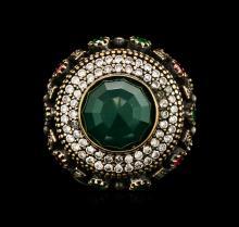 SILVER 19.79ctw Multicolor Gemstone Ring