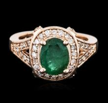 14KT Rose Gold 1.76ct Emerald and Diamond Ring