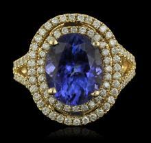 14KT Yellow Gold 7.12ct Tanzanite and Diamond Ring
