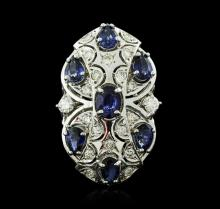 14KT White Gold 3.78ctw Sapphire and Diamond Ring