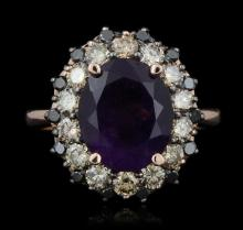 14KT Rose Gold 3.68ct Amethyst & Diamond Ring