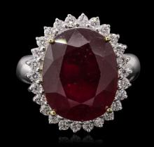 14KT White Gold 13.43ct Ruby and Diamond Ring