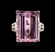 18KT White Gold 12.46ct Kunzite and Diamond Ring