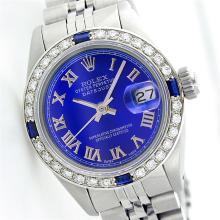 Ladies Rolex Stainless Steel Sapphire Diamond Wristwatch