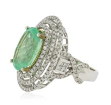 14KT White Gold GIA Certified 6.28ct Emerald and Diamond Ring