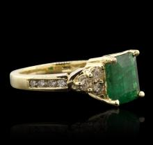 14KT Yellow Gold 2.45ct Emerald and Diamond Ring