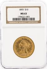 1893 NGC MS63 $10 Liberty Head Eagle Gold Coin