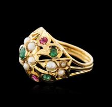 14KT Yellow Gold 0.50 ctw Emerald, Ruby and Pearl Ring