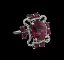 9.35 ctw Ruby and Diamond Ring - 18KT White Gold