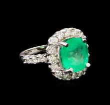 GIA Cert 5.82 ctw Emerald and Diamond Ring - 14KT White Gold