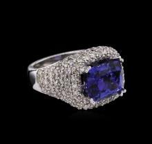 14KT White Gold 6.47 ctw Tanzanite and Diamond Ring