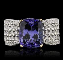 14KT Two-Tone Gold 4.53ct Tanzanite and Diamond Ring
